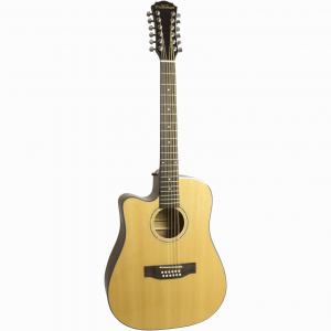 Freshman Maple Ridge FA1DCE12LH Left Hand Electro Acoustic 12 String Dreadnought Cut Away Guitar