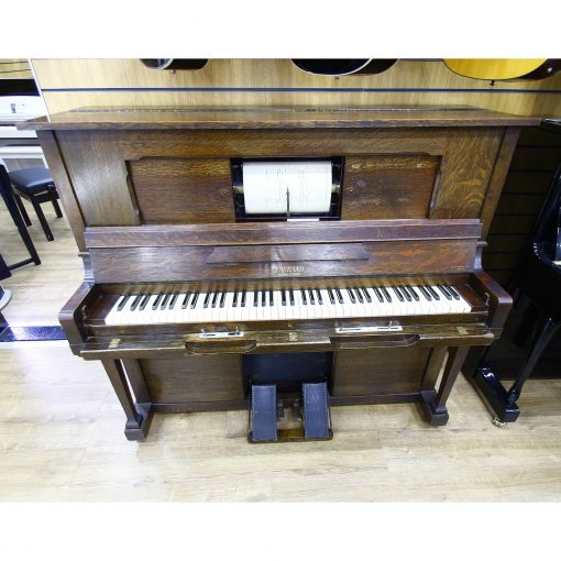 Farrand upright pianola piano, in an oak french polished case, for sale.