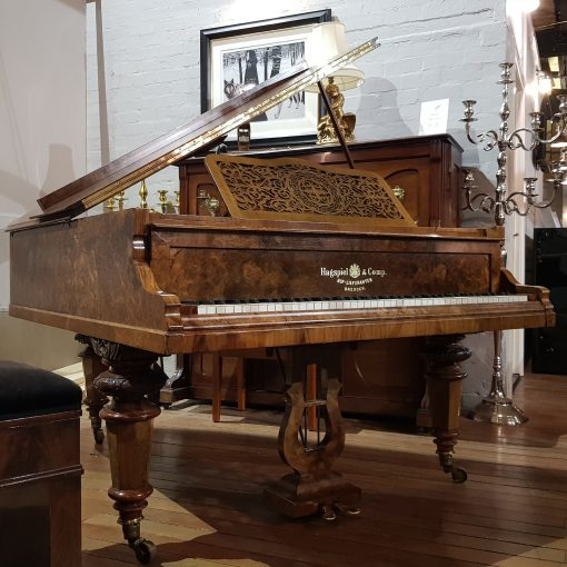 Hagspiel baby grand piano, in a burr walnut case, for sale