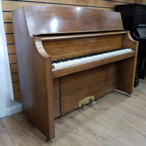 Used Bentley upright piano, in an Art Deco style walnut case, for sale
