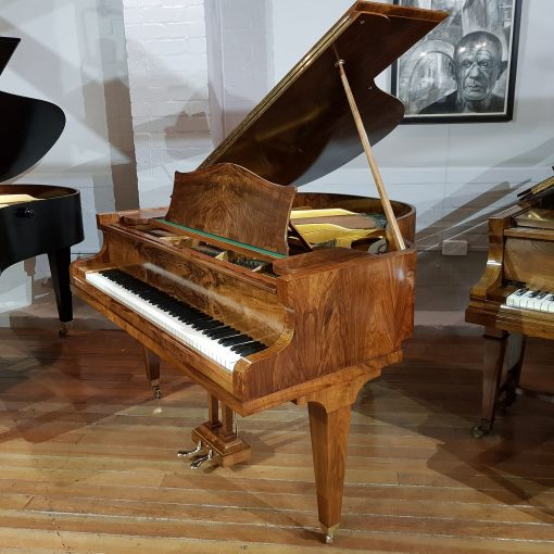 Bechstein London baby grand piano, in a burr walnut case for sale.