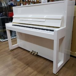 Feurich 115 Premiere upright piano, in a white polyester case.