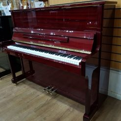 Feurich 122 Universal upright piano, in a mahogany polyester case.