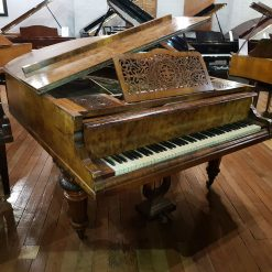 Hagspiel baby grand piano, in a burr walnut case, for sale.