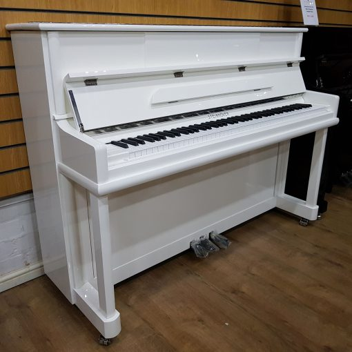 Steinhoven SU-112 upright piano, in a black polyester case, for sale.