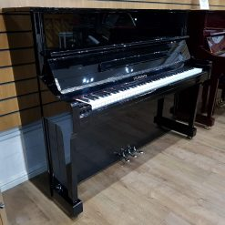 Steinhoven UP-121 upright piano, in a black polyester case, for sale.