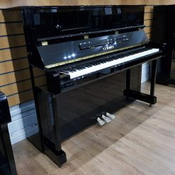 New Yamaha B3 upright piano, in a black polyester case, for sale.