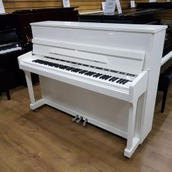 New Steinhoven SU-113 upright piano, in a white polyester case, for sale.