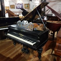 Used Bluthner grand piano in a black case for sale.